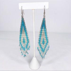 Southwest Long Hand Beaded Dangle Earrings Native